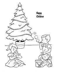 Happy Children With Presents Christmas Coloring Pages Printable