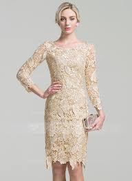 Sheath Column Scoop Neck Knee Length Lace Mother of the Bride Dress
