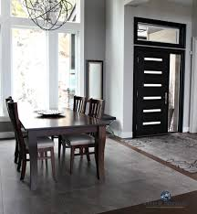Dining Room And Entryway Foyer Black Modern Front Door Sherwin Williams Repose Gray Tile Inlay Kylie M Interiors Decorating Design