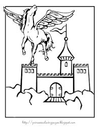 Princess Castle Coloring Page Simple With Unicorn
