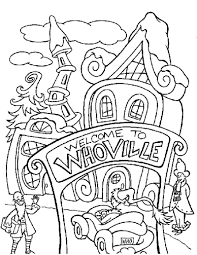 The Grinch Is Unhappy Whoville Coloring Page