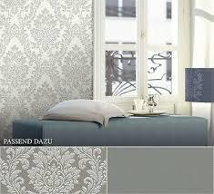 vlies barocktapete mit ornamenten grau weiß silber