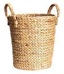 Large Storage Basket In Thick Braided Water Hyacinth With Two Handles At Top