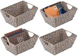 mdesign 4er set korb geflochten praktischer flechtkorb mit griffen für schlaf wohn badezimmer oder flur aufbewahrungskorb für haushaltsartikel