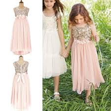 2015 Blush Flower Girls Dresses Gold Sequins Hand Made Sash Tea Length Tulle Jewel A Line Kids Formal Dress Junior Bridesmaid