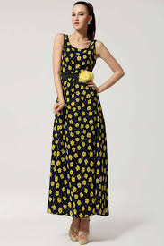 yellow floral print sleeveless maxi dress casual dresses women