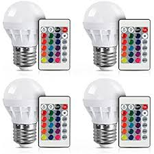 4 pack lvjing rgb led light bulb with remote 3w 150lm