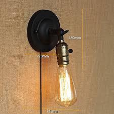kiven bare edison bulb wall sconce with metal 1 8m black