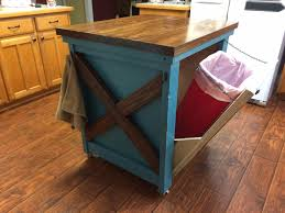 KitchenRustic Style Blue Island With Wooden Top Featuring Hidden Kitchen Garbage Can Storage Rustic