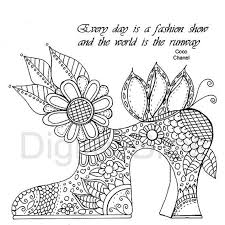 Adult Coloring Pages Vintage Shoe Flowers And Swirls Page INSTANT DOWNLOAD Kids Colouring Craft Activity