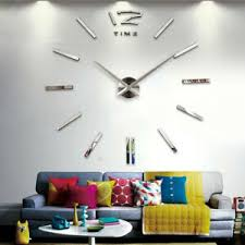 details zu diy wand uhr wohnzimmer wanduhr wandtattoo aufkleber deko 3d design silber dhl