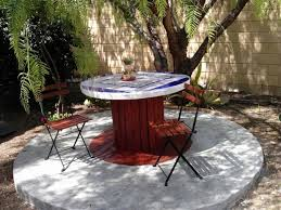 wooden cable spool garden table decoration wooden chairs backyard