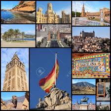 Travel Collage From Spain Includes Famous Places Like Madrid Barcelona Toledo