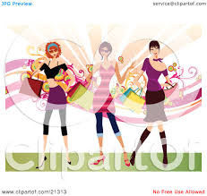 clipart illustration of three young sassy caucasian women wearing