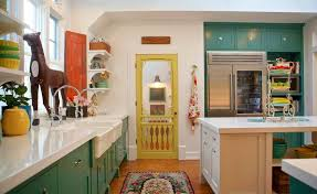 Eclectic Kitchen Decor Farmhouse With Great Color Green Cabinets