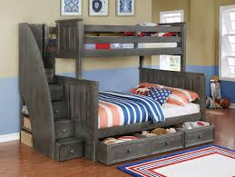 Gray Bunk Beds Twin Over Full With Stairs Useful Bunk Beds Twin