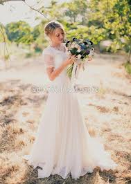 2015 Beach Wedding Dresses Country Simple Chiffon Bridal Gown With Short Sleeve Romantic Vintage Lace More Content Online Buy Wholesale Rustic