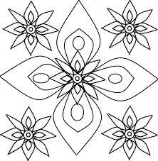 Rangoli Flower Petals Design Coloring Page