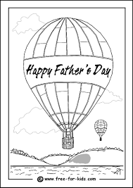 Colouring Page Of A Father And Child Playing Football Hot Air Balloon