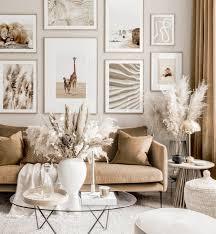 warme natur bilderwand beiges wohnzimmer tierposter