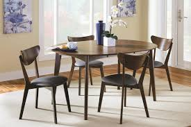Coaster Malone Mid-century Modern Casual Solid Wood Dining Room Set In Dark  Walnut