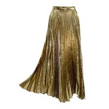 vintage halston metallic gold accordion pleat skirt at 1stdibs