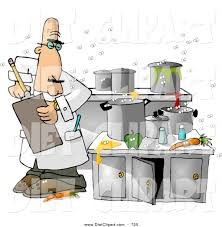 Food Health Inspector Revolted While Inspecting A Dirty Kitchen Clipart