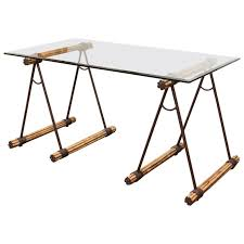 Maitland Smith Kidney Desk by Glass Top Bamboo And Iron Saw Horse Desk Or Console Table At 1stdibs