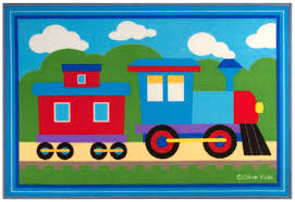 Wildkin Olive Kids Trains, Planes, Trucks Blue Area Rug | Wayfair
