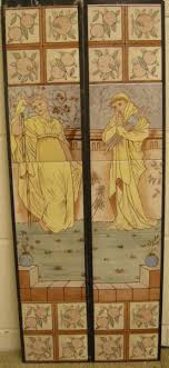 arts crafts tile set ref figures aesthetic movement floral