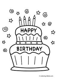 Cake Happy Birthday Party Coloring Pages Nice For Kids
