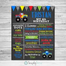 Monster Truck Birthday Chalkboard Sign Printable Monster   Etsy Monster Truck Party Ideas At Birthday In A Box Pin By Vianey Zamora On Decoration Truck Pinterest Cake Decorations Simple Cakes Brilliant Jam Given Minimalist Article Little 4pcs Blaze Machines 18 Foil Balloon Favor Supply 2nd Diy Jam Gravedigger Photo 10 Of Table Amazoncom Birthdayexpress Room Cboard Id Mommy Diy