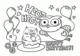 Funny Owl On The Birthday Card Coloring Page For Kids Holiday Pages Printables Free