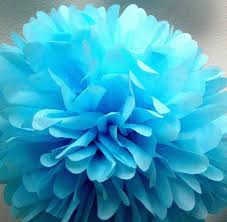 Azure 1 Tissue Paper Pom Wedding Decoration Diy Baptism Decorations Blue Bright Party Birthdays