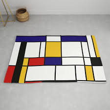 100 Bauhaus Style Primary Colors Geometric Pattern Fabric Mondrian Fabric Lines Home Decor Cotton Rug By Bluepinkpanther