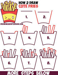 How to Draw Cute Kawaii French Fries with Face on It Easy Step by Step 481