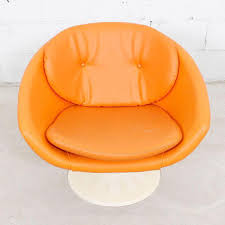 Swivel Pod Dining Chair by 60s Orange Swivel Pod Chairs By Overman Sweden Pair Chairish