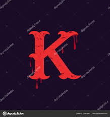 K Letter Logo Vintage Slab Serif Type With Blood Splashes Stock