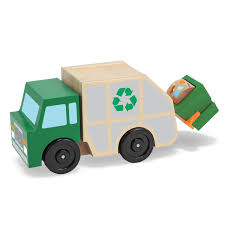 Melissa & Doug Rubbish Truck Wooden Vehicle Toy (3 Pcs): Amazon.co ...