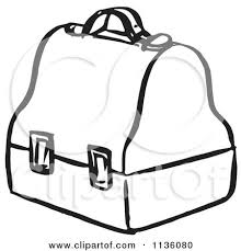 Royalty Free RF Lunch Box EPS Vector Of Retro Vintage Black And White