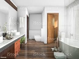 3d rendering holz und fliesen design badezimmer in der nähe fenster einen vorhang stockfoto und mehr bilder architektur