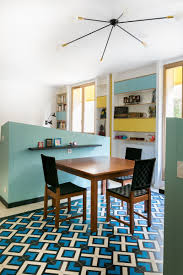 Pony Walls Separate The Dining Room From Living And Kitchen Decorative Floor Tiles