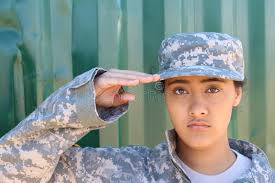 Download Portrait Of American Female Soldier Saluting Stock Image