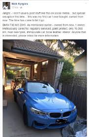 siege social bmw nick kyrgios selling luxury bmw on social media reaction