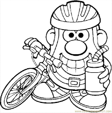 Mr Potato With A Bike Coloring Page