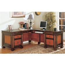 home office l shaped executive desk in dark two tone finish by