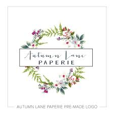 Wreath Logo Design Feminine Hand Drawn Style Floral Wreath Logo