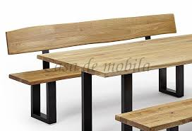 massivholz küchenbank sitzbank holzbank 200 rückenlehne asteiche geölt eisen gestell