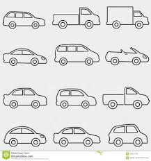 Cars, Vans And Truck Line Icons Stock Vector - Illustration Of Cargo ...