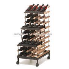 48 Bottles Tiered Wooden Wine Rack With Wheel Modular Wine Rack